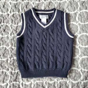 Children's Place Navy Cableknit Sweater Vest 0-3M
